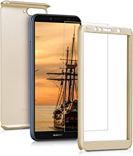 kwmobile Cover for Huawei Y6 (2018) - Shockproof Protective Full Body Case with Screen Protector - Metallic Gold