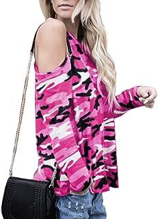 Sematomala Women Cold Shoulder Camouflage Printed Long Sleeve Blouse Dew Shoulder T-Shirt Tee Tops