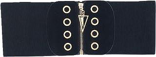 Cummerbunds Women Zipper Elastic Belt Wide Girdle Harness Waist Belts Black