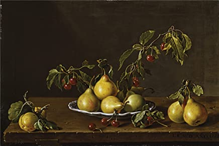 'Melendez Luis Egidio Frutero Con Peras Y Guindas 1773 ' Oil Painting, 20 X 30 Inch / 51 X 76 Cm ,printed On Perfect Effect Canvas ,this Vivid Art Decorative Canvas Prints Is Perfectly Suitalbe For Dining Room Decor And Home Decor And Gifts
