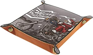 Santa Riding Chopper in The Christmas Night Valet Tray Storage Organizer Box Coin Tray Key Tray Nightstand Desk Microfiber Leather Pouch,16x16cm