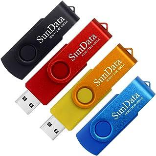 SunData Clé USB 32 Go Lot de 4 USB 2.0 Flash Drive Mémoire Stick Rotation Stockage Données avec Lumière LED (4 Couleurs: N...