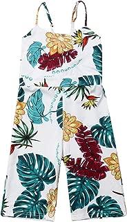 Toddler Baby Girl Leaf Print Halter Romper Overall Jumpsuit Pants Set One Piece Bodysuit Kids Summer Outfits Set