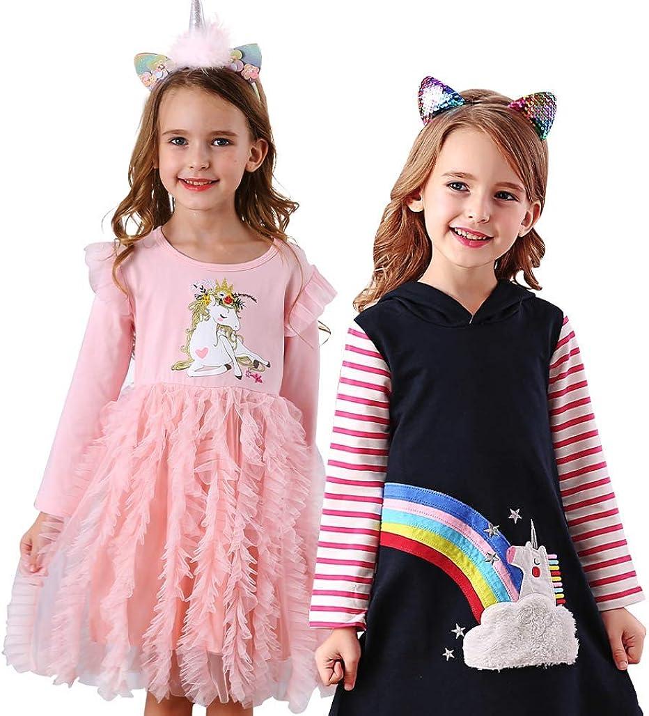 VIKITA Casual Girls Dresses 2pcs SMK7120+LH4885 8T