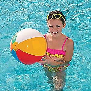 4E's Novelty Beach Balls Bulk [24 Pack] Large 20 inch Inflatable Beach Ball, Rainbow Color - Pool Toys for Kids, Beach Toys, Summer Toys, Summer Birthday Party Favors