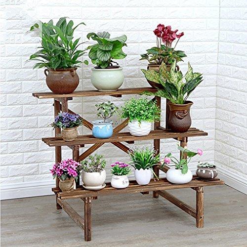 Support de fleur support de plante à plusieurs étages en bois massif support de fleur de plancher de salon de balcon coupé le violet de bois étagère de fleur de marguerite solide fort, bon support de charge (armature de plante à trois niveaux) ( Size : 78x66x76cm )