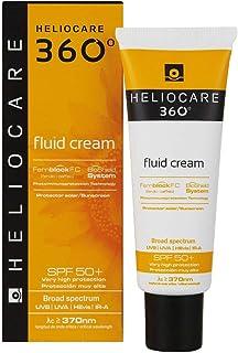 Heliocare 360º Fluid Cream SPF 50+ - Crema Solar Facial Fluida, Nutre e Hidrata, Aporta Suavidad a la Piel, sin Residuo Blanco, Pieles Normales o Secas, 50ml