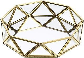 Sumnacon Plateau en métal miroir en verre orné de maquillage Organiseur de bijoux de bureau Prisma Plateau de parfum Petit...