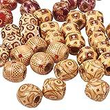 PandaHall- Lot de Mixtes 50 Perles en Bois pour Faire Bijou Teint Forme Tonneau sans Plomb 16x17mm,Trou:7mm