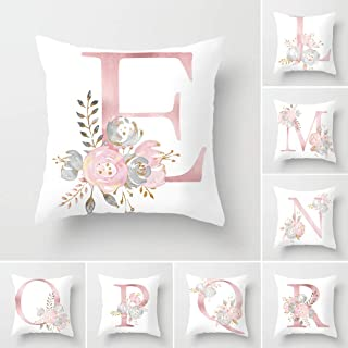 Tillskuch Throw Pillow Covers 26 Decorative English Letters Floral Pillowcases Velvet Soft Cushion Cover White Pillow Protectors for Sofa Bedding Car and Home Decor (18x18 / 45x45cm, Letter E)