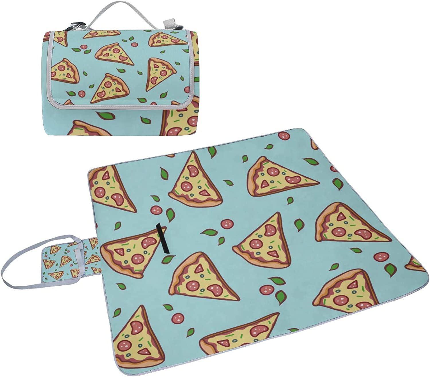 Family Picnic Blanket Handy Tote Pizza Fast Food Gourmet Design Painting Creative Single Side Printing Foldable Sandproof Waterproof Camping Mat for Outdoor Beach Hiking Grass Travel Outings