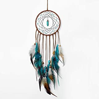 Dream Catcher Handmade Turquoise Dreamcatcher with Feathers Wall Hanging Decorations for Car Kids Room Ornament Blue