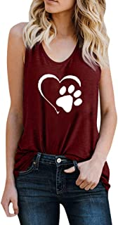 YANG-YI Women Chic Gilrs Blouse Cat Footprint Tops Slim Vest Vintage V Neck Summer Tank Top