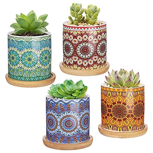 CNNIK 7cm Vaso Ceramica, Succulente Vaso per Piante con Motivo a Mandala e Vassoio in bambù, Cactus Vaso per Fiori per l'arredamento dell'ufficio Domestico (Modello Circolare)