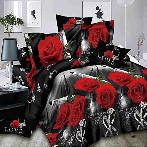 3d rosa roja juego de funda nórdica ropa de cama funda de edredón juego de cama de tamaño Queen Comforter carcasa 4