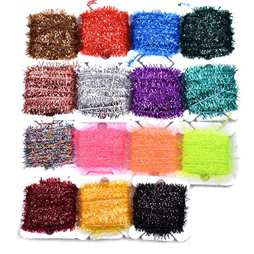 Phecda Sport 10 Cards Multi Colors Tinsel Chenille Line Crystal Flash Line Fly Fishing Tying Material for Nymphal Bugs Scud (15 Cards-75M)
