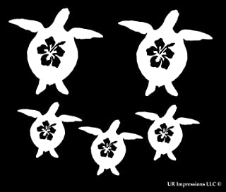 Fam 5 Hibiscus Flower Sea Turtle Family of 5 Decal Vinyl Sticker Graphics for Cars Trucks SUV Vans Walls Windows Laptop|White|1 @ 3.8 X 3.5-1 @ 3.5 X 3.3-3 @ 2.6 X 2.4 inch|URI493