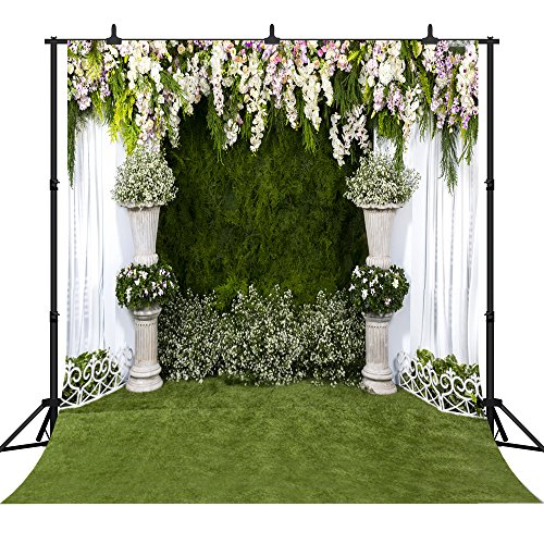 DePhoto 10x10ft Wedding Backdrop Valentine s Day Colorful Flowers White Lace Curtain Ceremony Seamless Vinyl Photography Photo Background Studio Prop PGT105D