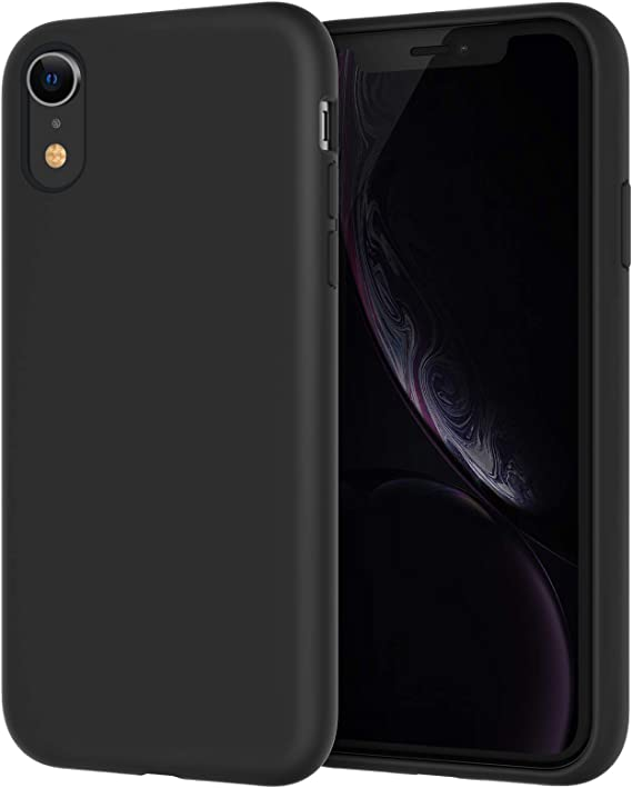 JETech Silicone Case for iPhone XR, 6.1-Inch, Silky-Soft Touch Full-Body Protective Case, Shockproof Cover with Microfiber Lining (Black)