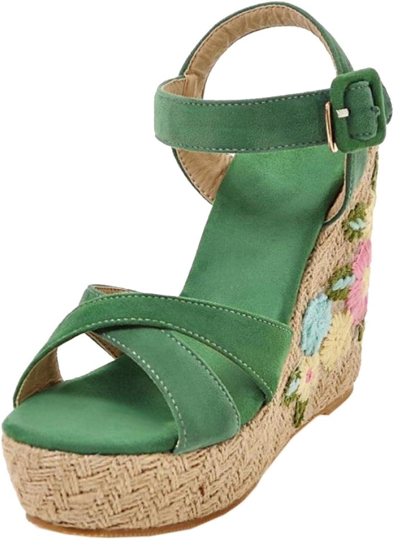 TAOFFEN Women Ankle Strap Wedge Heels Sandals