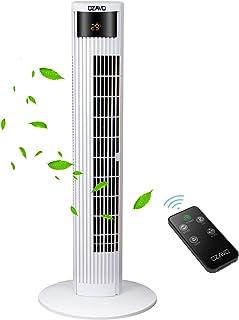 OZAVO Ventilador de Torre Silencioso con Mando a Distancia | 45W 95.5CM | Oscilación de 70° | 3 Velocidades | 3 Modos | 12H Temporizador | Led Pantalla | Panel Táctil Ventilador de Pie Blanco