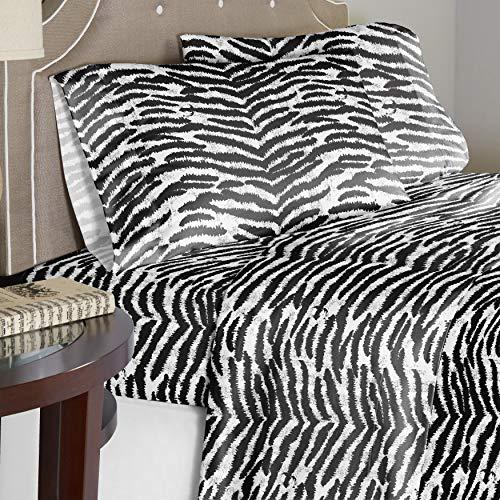 Pointehaven 180 GSM Cotton Flannel Sheet Set - Twin XL, Zebra, Black (F180TXSHTSZB)