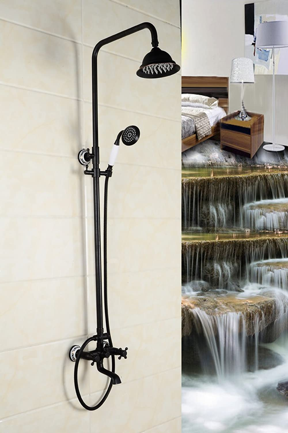 NewBorn Faucet Kitchen Or Bathroom Sink Mixer Tap Black Into The Wall Mounted Bath Shower Solid Brass Retro Shower Kit Full Copper Black Black Water Tap Shower Set Dsc5878