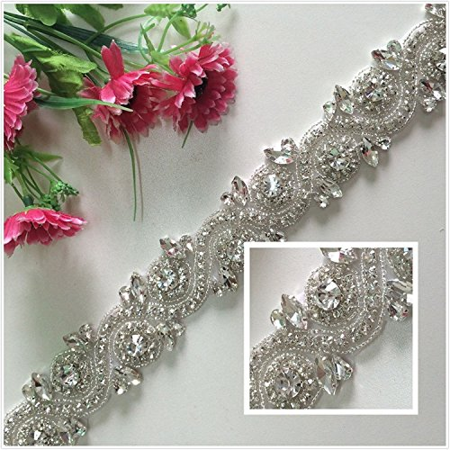 TRLYC White Ribbon Sash Bridal Wedding Dress Rhinestone Vintage Beaded Crystal Belt Sash