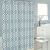 LHT Luxurious Moroccan Trellis Shower Curtain Set with 12 Hooks, Baby Blue