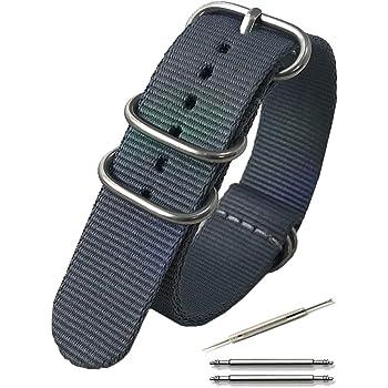 Calme(カルム)NATO ベルト 腕時計 バンド G10 プレミアム ナイロン 交換簡単 ストラップ 16㎜ ~ 24㎜ 交換説明書付き (18㎜, グレー)