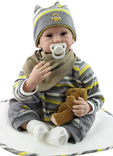 IIWOJ Baby wiedergeborene Puppe 55cm Big-Eyed Silicone Doll Cute Realistic Photography Props