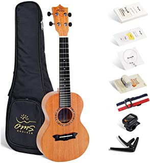 Enya Solid Concert Ukulele 23 Inch, Mahogany and Technology Ebony-with Starter Bundle Kit Includes Online Lessons, Case, Strap, Strings, Capo, Sand Shaker, Pick ,Polish Cloth (OMS-02)
