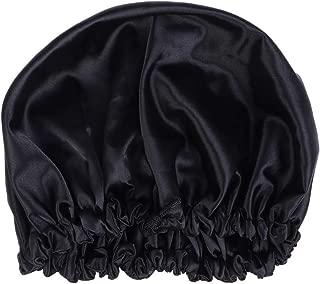 SUPVOX Silk Nightcap Satin Sleeping Cap Wide Side Bonnet Cap Drawstring Beanie Cap with Soft Elastic Band (Black)