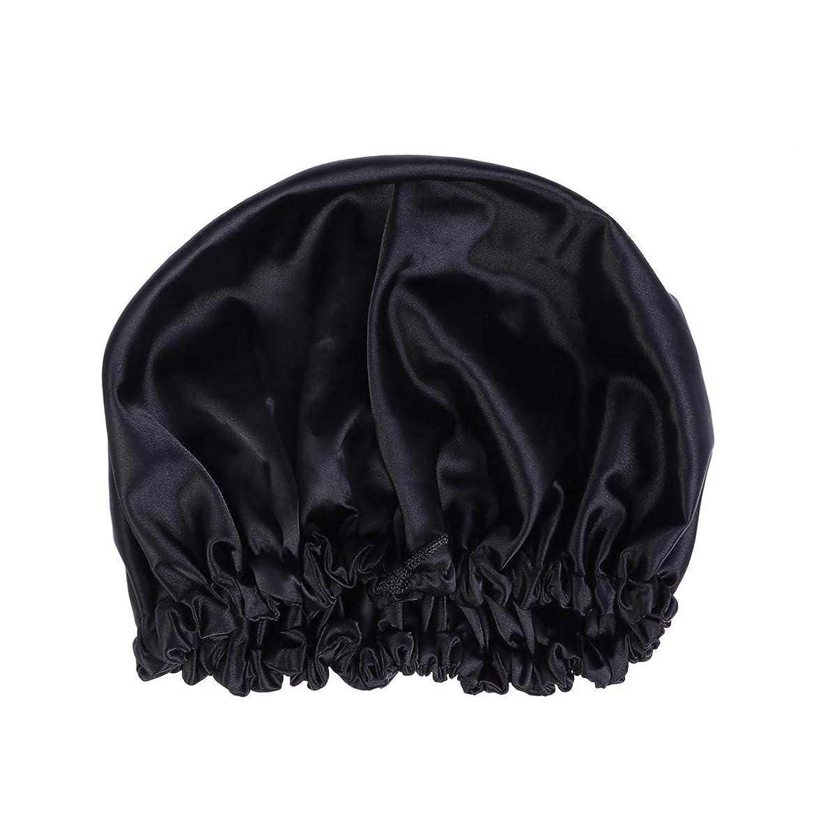 馬鹿コンソール地域Healifty ダクロンナイトスリーピングキャップボンネット帽子(黒)