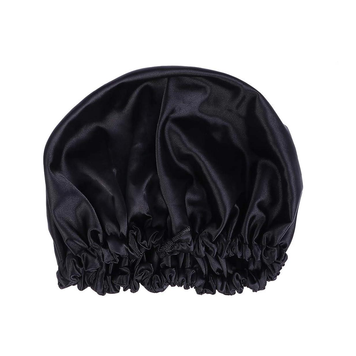 胃マイナス一掃するHealifty ダクロンナイトスリーピングキャップボンネット帽子(黒)