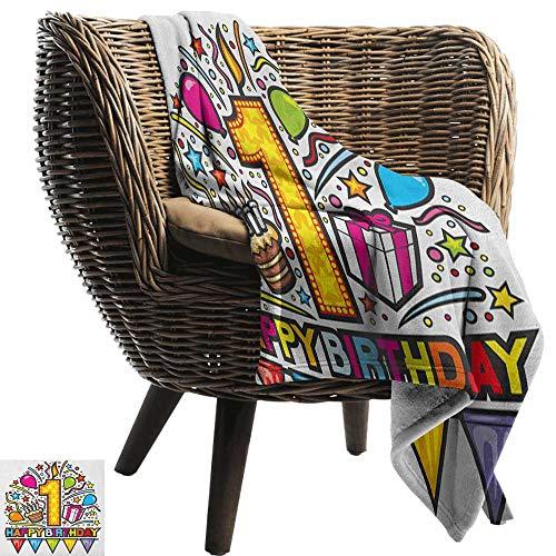ZSUO grijs gooien deken 1e Verjaardag, Baby First Party Feestelijke Cake met Bosvruchten en Kandelaar Afbeelding Print Multi kleuren Alle seizoenen Licht Gewicht Woonkamer/Slaapkamer