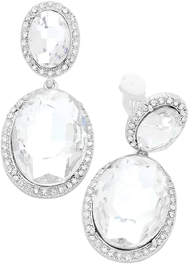 Rosemarie Collections Women's Double Oval Crystal Evening Clip On Earrings