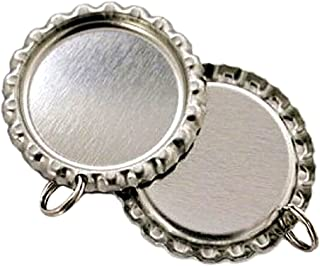 IGOGO Flat Bottle Cap with Holes 8 mm Split Rings Attached,Silver,50 PCS