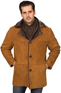 Aston Leather Men's Writer's Shearling Coat Suede Gold