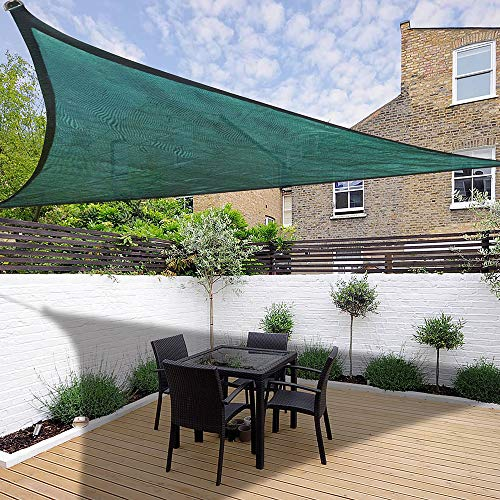 ReaseJoy Sun Shade Sail Triangle 3.5x3.5x3.5m HDPE Breathable Canopy Cover for Garden Balcony Patio Pool with Carabiner