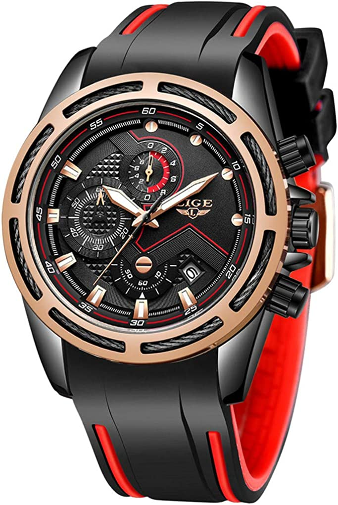 LIGE Men's Watches Military Silicone Sport Fashion Waterproof Analog Quartz Wrist Watch...
