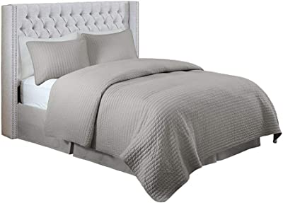 Amazon Com Madison Park Solid Upholstery Headboard Queen Grey