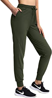 OUGES Women's Athletic Jogger Yoga Pants Drawstring Running Pants Lightweight Track Cuff Tapered Sweatpants Pocket Quick Dry