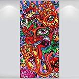 Cubierta de Puerta Psicodélica Hippie Bandera de Arabesco Fondo de Pared Hippie Accesorios de Foto de Fantasía Mágica Decoración de Halloween Fiesta Hippie, 6 x 3 Pies
