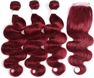 red human hair bundles with closure