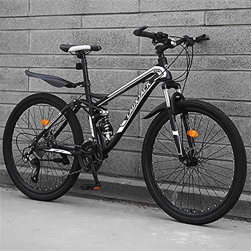 TOPYL High Carbon Steel Men Women Off-Road Mountain Bikes,Mountain Bike Bicycle,Dual Disc Brake Full Suspension Mountain Bicycle Black 24',30-Speed