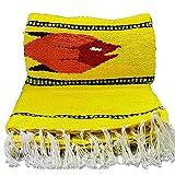 Serape Mexican Blanket, Yoga Mat, Camping Blanket, Beach Blanket, Picnic Blanket, Handmade Woven Throw Blanket, Home Decor, Car Blanket (Fish) (Yellow)