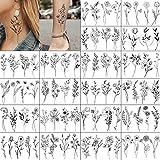 20 schwarz klein Blumen temporäre Tattoos