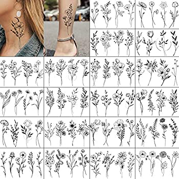 EGMBGM 20 Sheets Black Small Poppy Flower Temporary Tattoos For Women Tiny Branch Neck Temporary Tattoos For Adults Girls Floral Bouquet Tattoo Temporary Grass Lavender Fake Tatoo Sticker Kids Kits