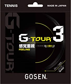 ゴーセン(GOSEN) 硬式テニスストリング G-TOUR3 17(1.23mm) ロール BK TSGT312BK ブラック